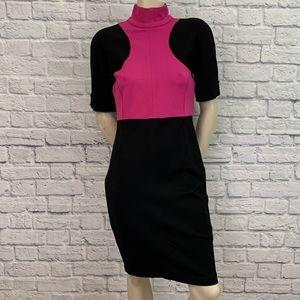 KARL LAGERFELD BLACK & PINK HIGH NECK DRESS